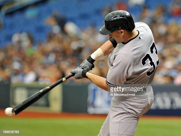 Designated hitter Travis Hafner of the New York Yankees grounds out in the second inning against the Tampa Bay Rays May 26 2013 at Tropicana Field in...