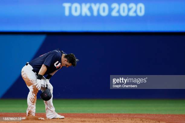 Designated hitter Tyler Austin of Team United States reacts on the second base after the eighth inning during the gold medal game between Team United...