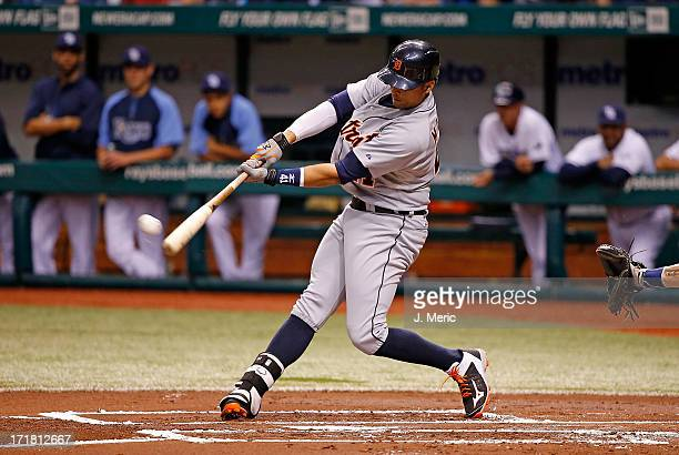 Designated hitter Victor Martinez of the Detroit Tigers fouls off a firstinning pitch against the Tampa Bay Rays at Tropicana Field on June 28 2013...