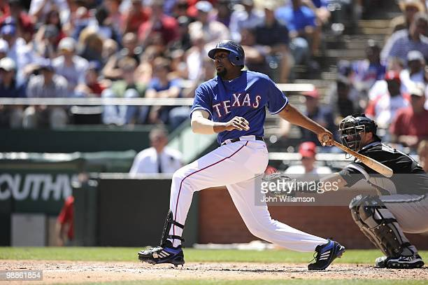 Designated hitter Vladimir Guerrero of the Texas Rangers bats during the game against the Chicago White Sox at Rangers Ballpark in Arlington in...