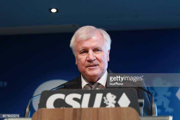 Designated minister of interiour and home affairs and chairman of the CSU Horst Seehofer held a press conference in Munich Germany on 5 March 2018...