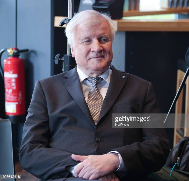 Designated minister of interiour and home affairs and chairman of the CSU Horst Seehofer stand on the stage The Christian Social Union anounced its...