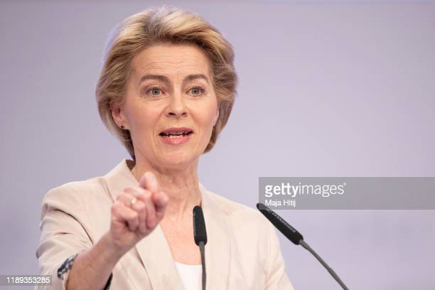 Designated President of the European Commission Ursula von der Leyen speaks at the 32nd federal congress of the German Christian Democrats on...