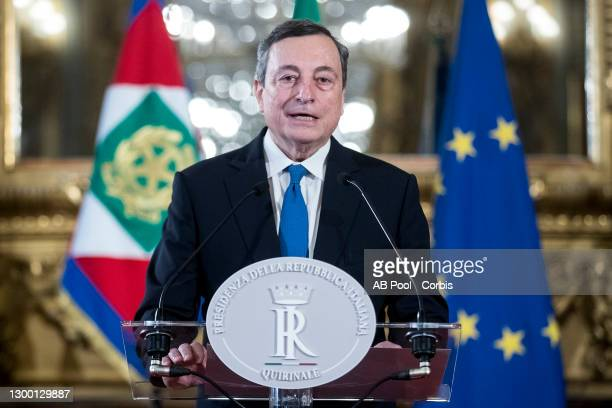 Designated Prime Minister Mario Draghi speaks to media after having accepted from Italian President Sergio Mattarella, the mandate to form a new...