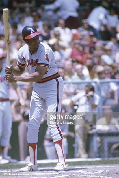 Designatedhitter Frank Robinson of the California Angels at bat during a game in July 1973 against the Cleveland Indians at Municipal Stadium in...
