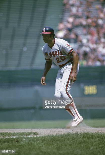 Designatedhitter Frank Robinson of the California Angels takes his lead off firstbase during a game in July 1973 against the Cleveland Indians at...