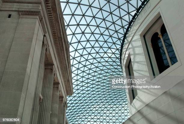 Designed by Foster and partners the domed glass segmented roof that covers the the Great Court and Reading Room of the British Museum London UK