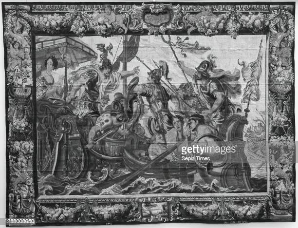Designed by Justus van Egmont, The Battle of Actium from a set of The Story of Antony and Cleopatra, Flemish, Brussels, Weaving workshop directed by...