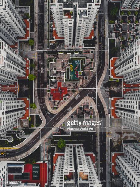 designed housing area taken by drone,  hong kong - unusual angle stock pictures, royalty-free photos & images