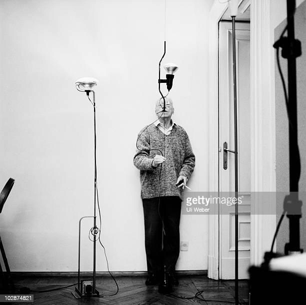 Designer Achille Castiglioni poses for a portrait shoot in Rome Italy