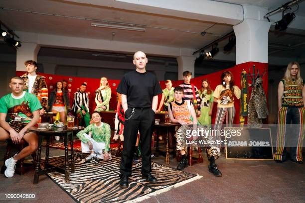 Designer Adam Jones during a view of the Adam Jones presentation at the DiscoveryLAB during London Fashion Week Men's January 2019 at the BFC...
