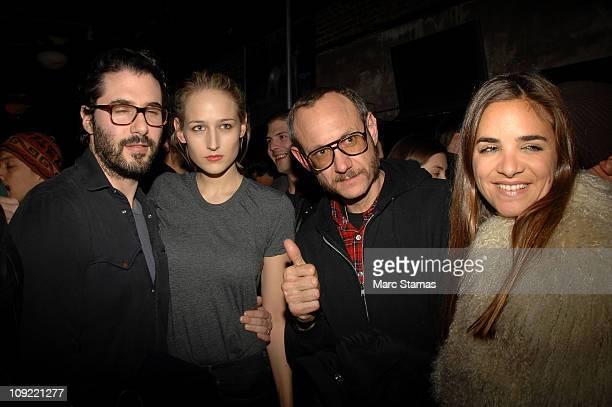 Designer Adam Kimmel Actress Leelee Sobieski and Photographer Terry Richardson attend the Adam Kimmel x Carhartt party at Don Hill's on February 16...