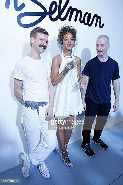 Designer Adam Selman and Singer Rihanna attend the Adam Selman Presentation MercedesBenz Fashion Week Spring 2015 at Algus Greenspon Gallery on...