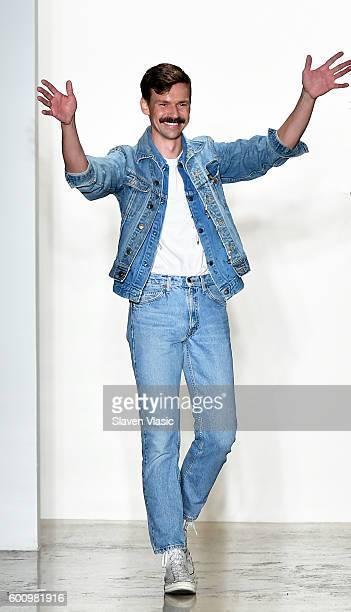 Designer Adam Selman walks the runway at the Adam Selman fashion show during New York Fashion Week September 2016 at Milk Studios on September 8 2016...