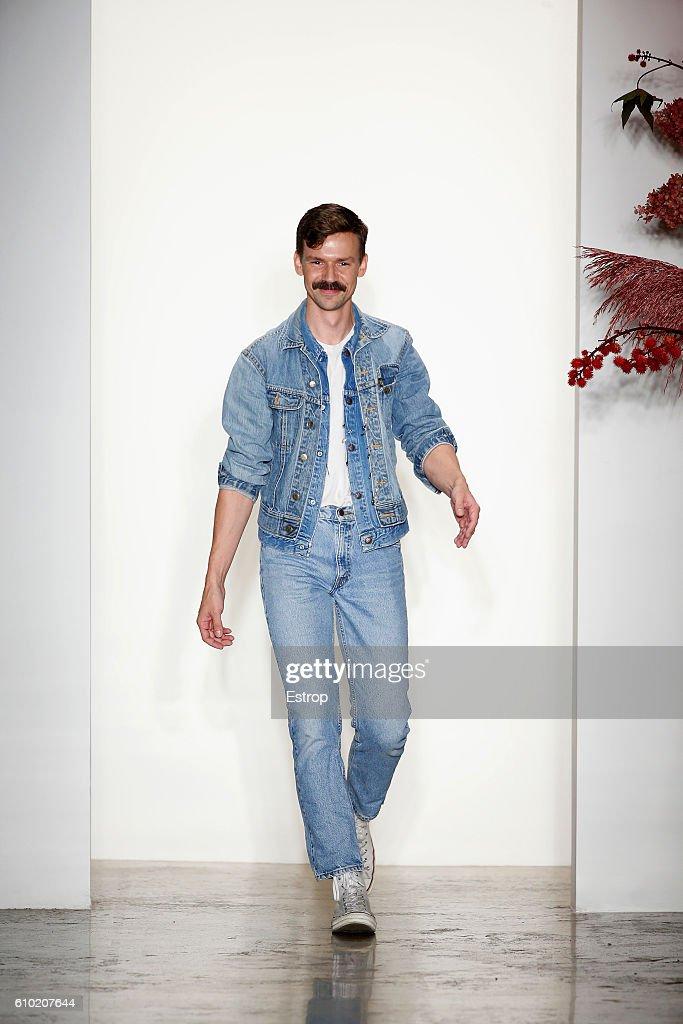 Designer Adam Selman walks the runway at the Adam Selman show at Milk Studios on September 8, 2016 in New York City.