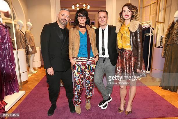 Designer Adrian Runhof Nena Designer Johnny Talbot and Larissa Kerner daughter of Nena during the Talbot Runhof flagship boutique opening at Preysing...