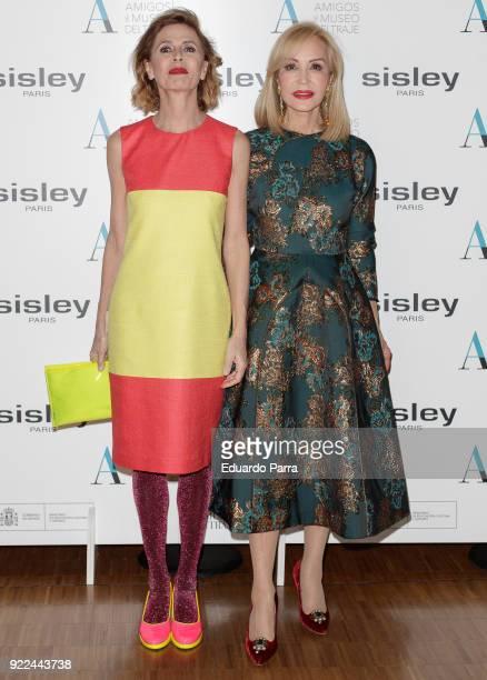 Designer Agatha Ruiz de la Prada and Carmen Lomana attend the 'El armario de Carmen Lomana' exhibition photocall at Costume museum on February 21...