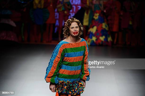 Designer Agatha Ruiz de la Prada at the end of her show during Cibeles Fashion Week at Ifema at Ifema on February 19 2010 in Madrid Spain