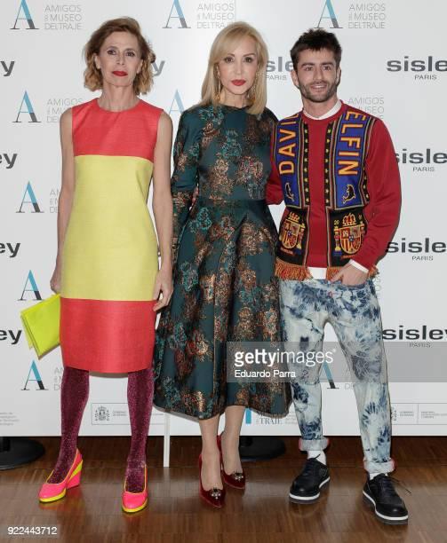 Designer Agatha Ruiz de la Prada Carmen Lomana and Pelayo Diaz attend the 'El armario de Carmen Lomana' exhibition photocall at Costume museum on...