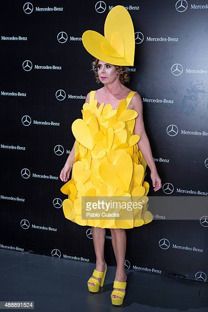 Designer Agatha Ruiz de la Prada is seen at the backstage before the Agatha Ruiz de la Prada fashion show during the MercedesBenz Fashion Week at...
