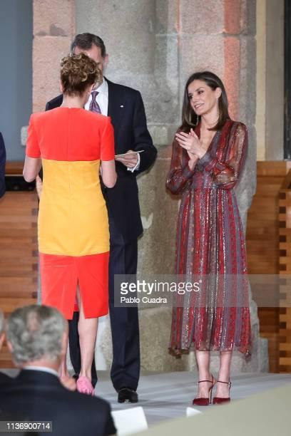 Designer Agatha Ruiz de la Prada King Felipe VI of Spain and Queen Letizia of Spain attend the National Culture Awards at El Prado Museum on March 19...