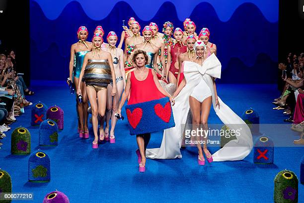 Designer Agatha Ruiz de la Prada showcases designs by Agatha Ruiz de La Prada on the runway at the Agatha Ruiz de La Prada show during MercedesBenz...