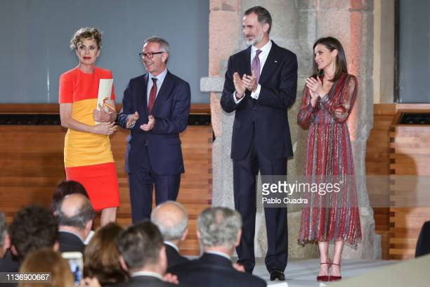 Designer Agatha Ruiz de la Prada Spanish Minister of Culture Jose Guirao King Felipe VI of Spain and Queen Letizia of Spain attend the National...