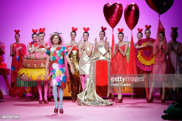 Designer Agatha Ruiz de La Prada walks the runway at the Agatha Ruiz de La Prada show during the MercedesBenz Madrid Fashion Week Autumn/Winter 2017...
