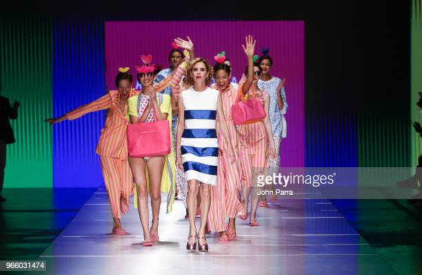 Designer Agatha Ruiz de la Prada walks the runway during Miami Fashion Week 2018 Agatha Ruiz de la Prada Runway at Ice Palace on June 1 2018 in Miami...