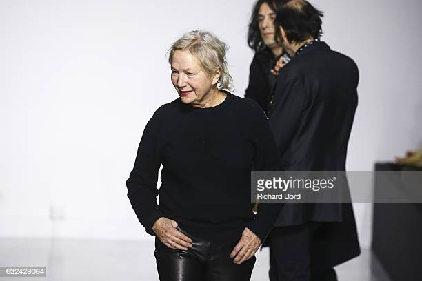 Designer Agnes B aknowledges the audience during the Agnes B Menswear Fall/Winter 20172018 show as part of Paris Fashion Week on January 22 2017 in...