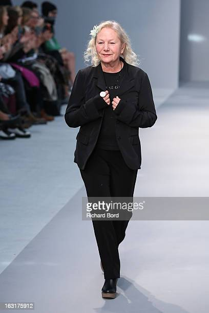 Designer Agnes B walks the runway during the Agnes B Fall/Winter 2013 ReadytoWear show as part of Paris Fashion Week at Palais de Tokyo on March 5...