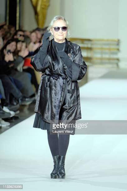 Designer Agnes B walks the runway during the Agnes B. Show as part of the Paris Fashion Week Womenswear Fall/Winter 2019/2020 on March 04, 2019 in...