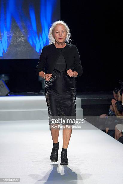 Designer Agnes B walks the runway during the Agnes B show as part of the Paris Fashion Week Womenswear Spring/Summer 2015 on September 30 2014 in...