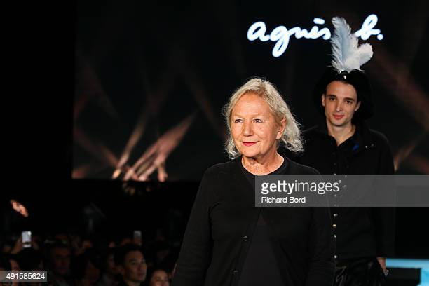 Designer Agnes B walks the runway during the Agnes B show as part of the Paris Fashion Week Womenswear Spring/Summer 2016 at Palais de Tokyo on...