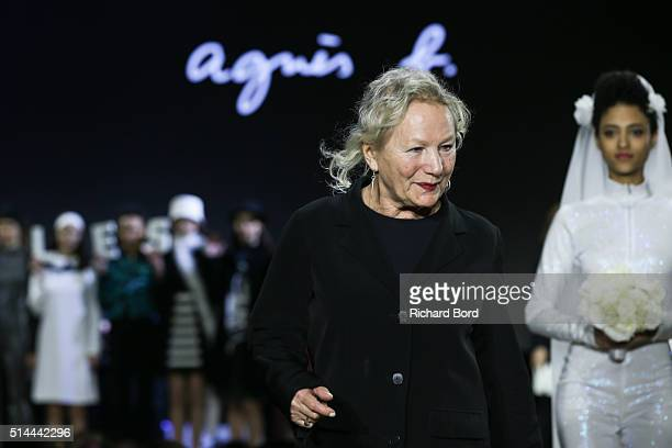 Designer Agnes B walks the runway during the Agnes B show as part of the Paris Fashion Week Womenswear Fall/Winter 2016/2017 on March 8 2016 in Paris...