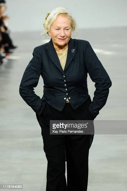 Designer Agnes B walks the runway during the Agnes B Womenswear Spring/Summer 2020 show as part of Paris Fashion Week on September 30 2019 in Paris...