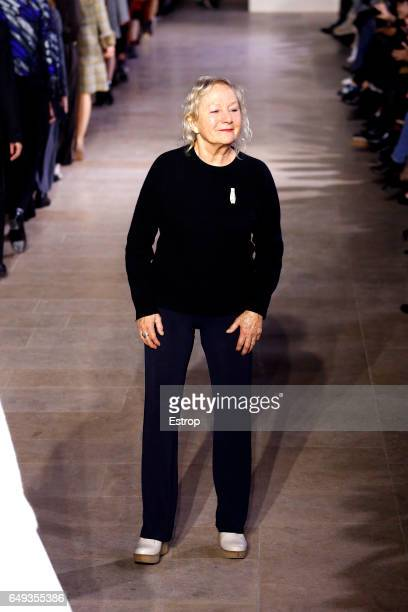 Designer Agnes Troublé walks the runway during the Agnes B designed by Agnes Troublé show as part of the Paris Fashion Week Womenswear Fall/Winter...