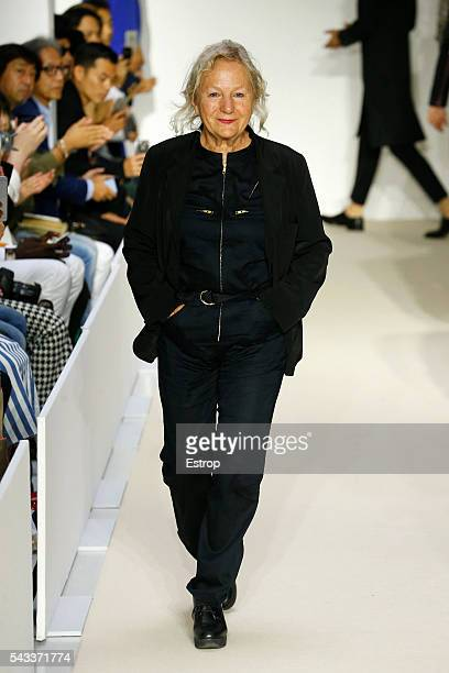 designer Agnes Trouble walks the runway during the Agnes B Menswear Spring/Summer 2017 show designed by Agnes Trouble as part of Paris Fashion Week...
