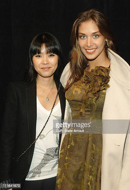 Designer Akiko Ogawa and Miss Universe Dayana Mendoza attend Akiko Ogawa Fall 2009 during MercedesBenz Fashion Week at The Salon in Bryant Park on...