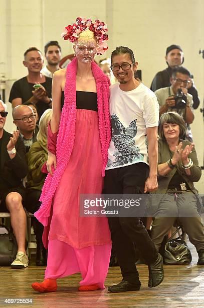 Designer Akira Isogawa thanks the audience following the Akira show at MercedesBenz Fashion Week Australia 2015 at Carriageworks on April 15 2015 in...