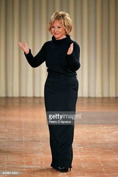 Designer Alberta Ferretti acknowledges the apllause of the audience at the Alberta Ferretti show during Milan Fashion Week Fall/Winter 2017/18 on...