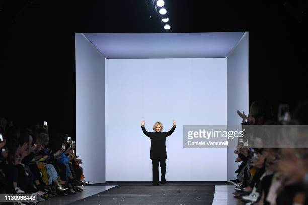 Designer Alberta Ferretti acknowledges the applause of the audience at the Alberta Ferretti show at Milan Fashion Week Autumn/Winter 2019/20 on...
