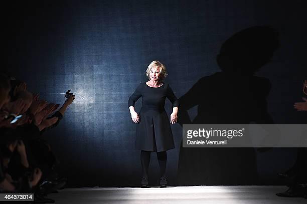 Designer Alberta Ferretti acknowledges the applause of the audience after the Alberta Ferretti show during the Milan Fashion Week Autumn/Winter 2015...