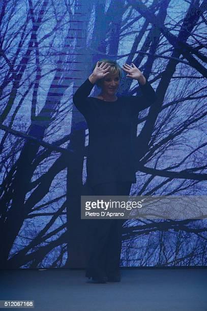 Designer Alberta Ferretti acknowledges the applause of the audience after the Alberta Ferretti show during Milan Fashion Week Fall/Winter 2016/17 on...