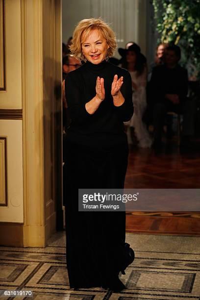 Designer Alberta Ferretti acknowledges the applause of the audience at the Alberta Ferretti show during Milan Men's Fashion Week Fall/Winter 2017/18...