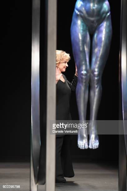 Designer Alberta Ferretti acknowledges the applause of the audience after the runway at the Alberta Ferretti show during Milan Fashion Week...