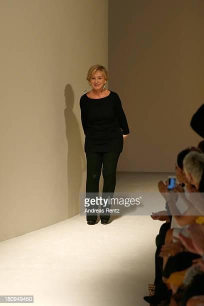 Designer Alberta Ferretti acknowledges the applause of the public after the Alberta Ferretti show as a part of Milan Fashion Week Womenswear...