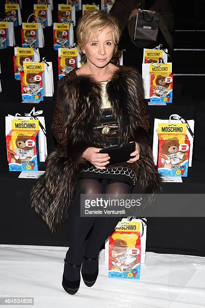 Designer Alberta Ferretti attends the Moschino show during the Milan Fashion Week Autumn/Winter 2015 on February 26 2015 in Milan Italy
