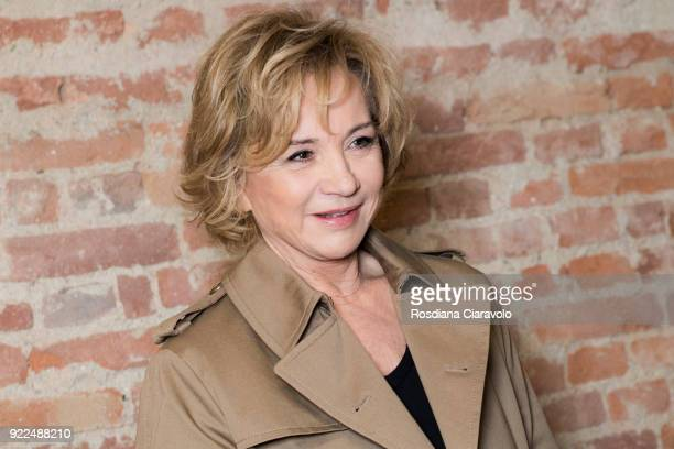 Designer Alberta Ferretti is seen backstage ahead of the Alberta Ferretti show during Milan Fashion Week Fall/Winter 2018/19 on February 21 2018 in...