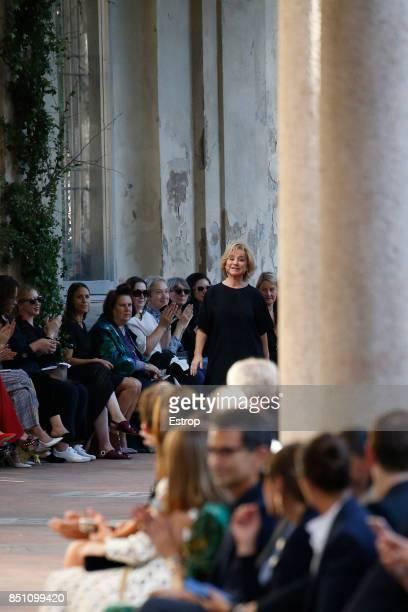 Designer Alberta Ferretti walks the runway at the Alberta Ferretti show during Milan Fashion Week Spring/Summer 2018 on September 20 2017 in Milan...